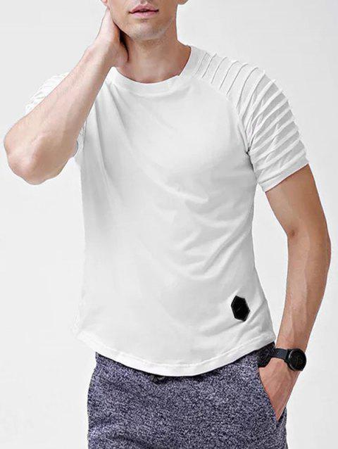 Solid Color Patch Detail Pleated Short Sleeve T-shirt - WHITE M
