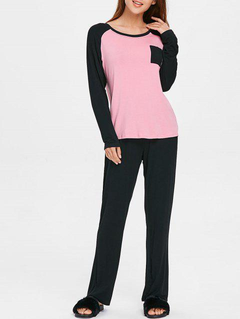 Two Tone Long Sleeves Pocket Pajamas Suit - PINK BUBBLEGUM 2XL