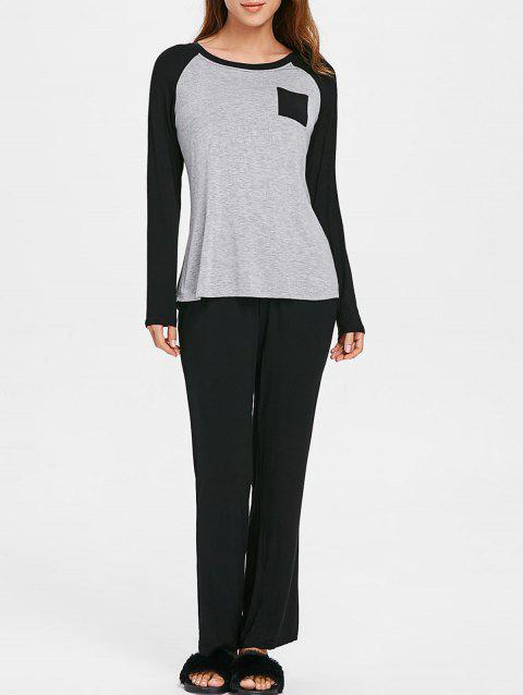 Two Tone Long Sleeves Pocket Pajamas Suit - LIGHT GRAY S