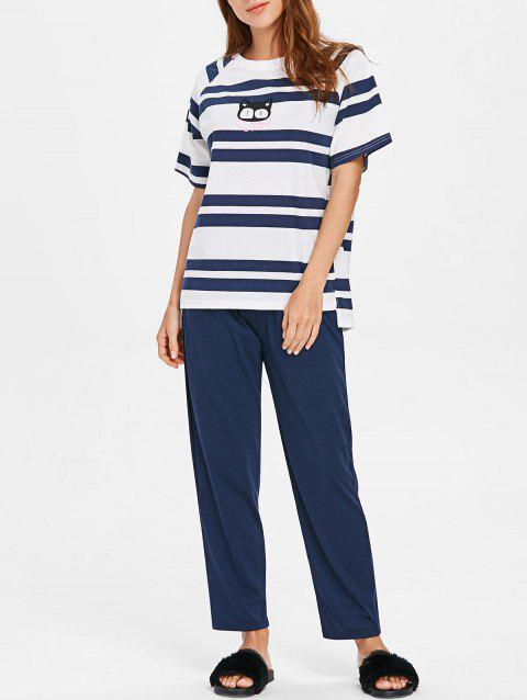 Cat Stripe Raglan Sleeve Pajamas - CADETBLUE M