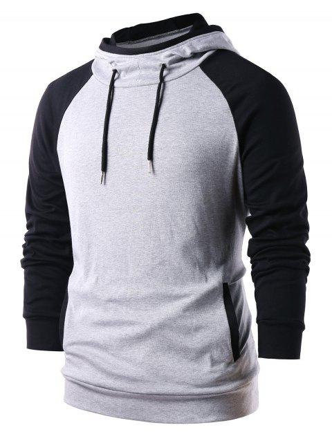 872739d71af6 41% OFF] 2019 Raglan Sleeve Color Block Pullover Hoodie In PLATINUM ...
