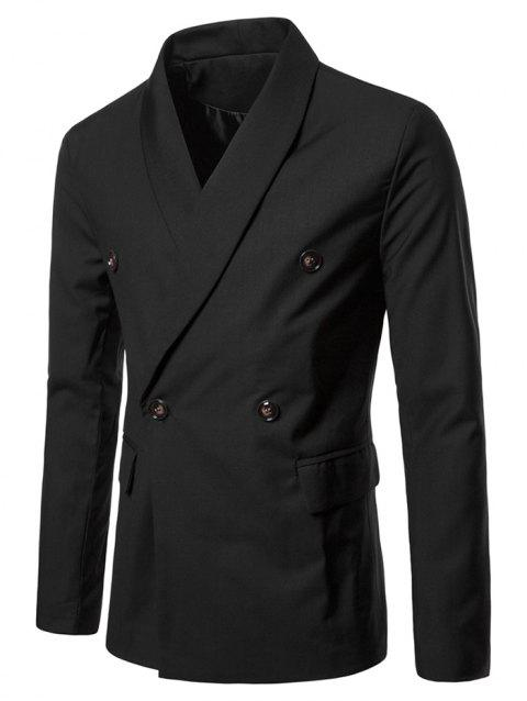 Double Buttons Shawl Collar Blazer - BLACK XL