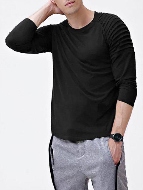 Solid Color Patch Detail Pleated Long Sleeve T-shirt - BLACK L