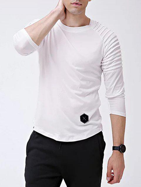 Solid Color Patch Detail Pleated Long Sleeve T-shirt - WHITE XL