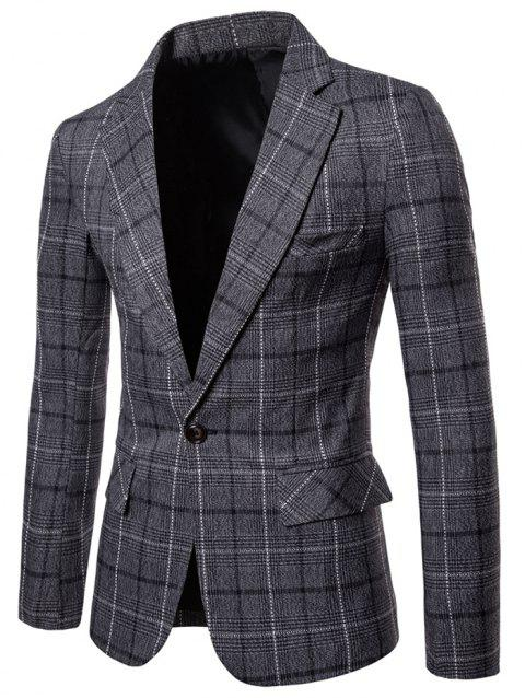 Lapel Collar One Button Plaid Blazer - DARK GRAY L