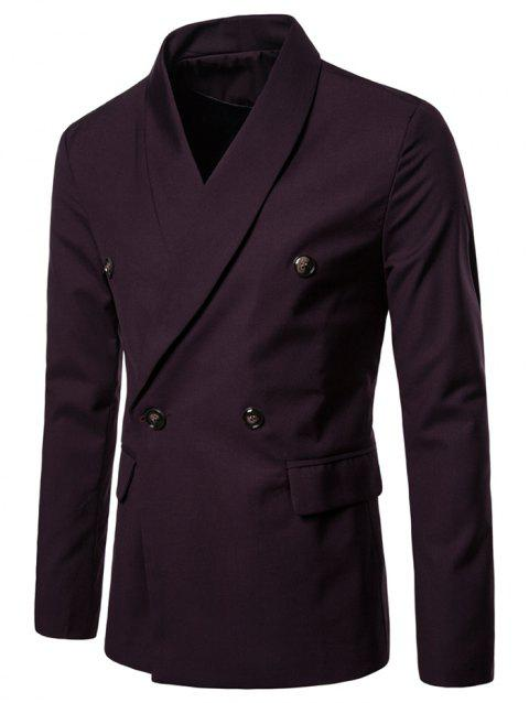 Double Buttons Shawl Collar Blazer - RED WINE L