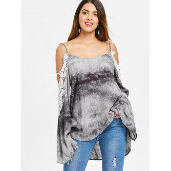 Lace Insert Cold Shoulder Tie Dye Blouse - multicolor XL