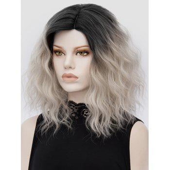Side Parting Medium Colormix Natural Wavy Synthetic Party Wig - multicolor