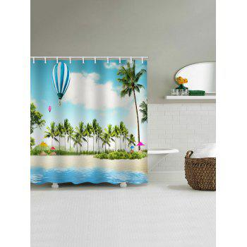 Coconut Palms Balloon Beach Scenery Print Shower Curtain - multicolor W59 INCH * L71 INCH