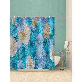 Paper Folded Flowers Print Shower Curtain - multicolor W71 INCH * L71 INCH