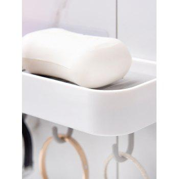 Wall-mounted Soap Dish with 4 Hooks - WHITE