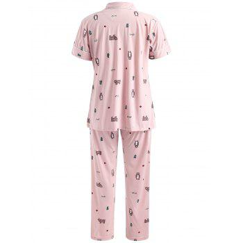 Bear Pattern Short Sleeves Sleepwear Set - PINK XL