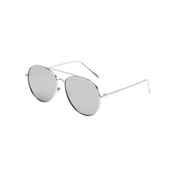Anti UV Metal Frame Flat Lens Sunglasses - PLATINUM