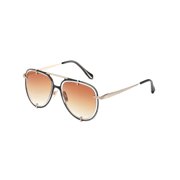 Stylish Hollow Out Frame Crossbar Sunglasses - TAN