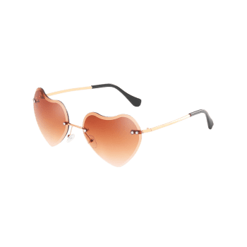 Anti Fatigue Heart Shaped Lens Rimless Sunglasses - LIGHT BROWN