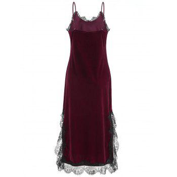 Lace Insert Velvet Slip Pajamas Dress - RED WINE L
