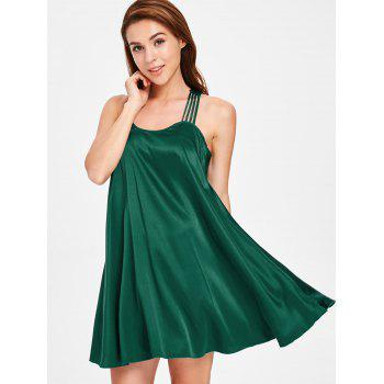 Strappy Swing Pajamas Dress - DEEP GREEN ONE SIZE