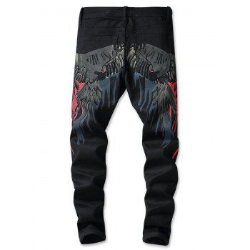Flying Hawk Print Zip Fly Jeans - BLACK 32