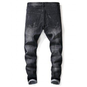 Star Embroidery Faded Wash Distressed  Jeans - BLACK 32