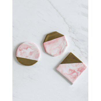 3 Pcs Marble Pattern Ceramic Coaster Set - PIG PINK 9CM