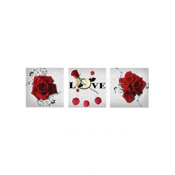 Rose Letter Print Canvas Wall Art - RED WINE 3PC:12*18 INCH( NO FRAME )