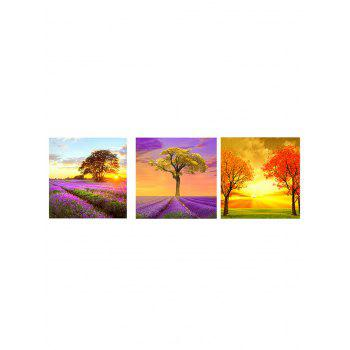 Lavender Flower Tree Sunset Print Split Canvas Prints - multicolor 3PCS:20*20 INCH( NO FRAME )