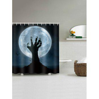 Halloween Night Bat Hand Shower Curtain - multicolor W59 INCH * L71 INCH