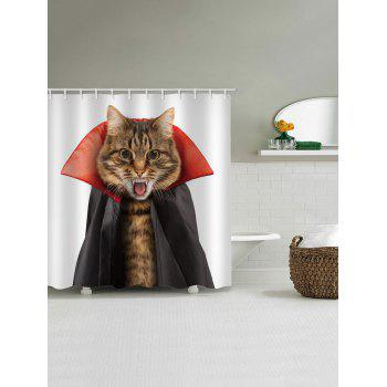 Halloween Cat Shower Curtain - multicolor W71 INCH * L71 INCH