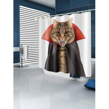 Halloween Cat Shower Curtain - multicolor W71 INCH * L79 INCH