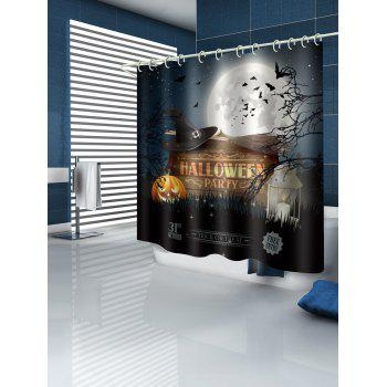 Halloween Party Pumpkin Bat Shower Curtain - multicolor W71 INCH * L79 INCH