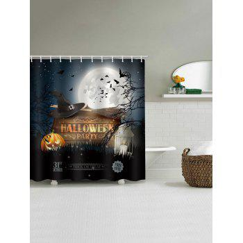 Halloween Party Pumpkin Bat Shower Curtain - multicolor W71 INCH * L71 INCH