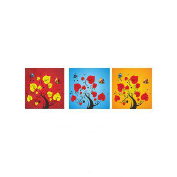 Abstract Tree Butterflies Print Unframed Canvas Wall Art - multicolor 3PC:16*16 INCH( NO FRAME )