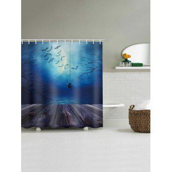 Halloween Lake Moon Night Spider Printed Shower Curtain - multicolor W71 INCH * L71 INCH