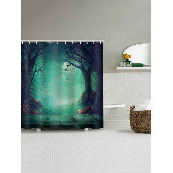 Magic Forest Halloween Night Printed Waterproof Shower Curtain - multicolor W71 INCH * L71 INCH