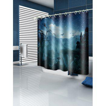 Horrific Castle Halloween Night Printed Waterproof Shower Curtain - multicolor W71 INCH * L79 INCH