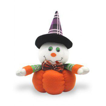 Cat Witch Pumpkin Shaped Halloween Gift Doll - WHITE