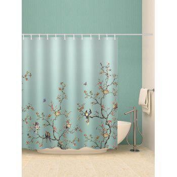Birds Tree Branch Flower Print Shower Curtain - multicolor W71 INCH * L71 INCH