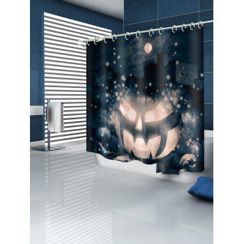 Halloween Moon Night Pumpkin Printed Shower Curtain - multicolor W71 INCH * L71 INCH