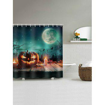 Halloween Moon Night Candles Pumpkin Lantern Printed Shower Curtain - multicolor W71 INCH * L79 INCH