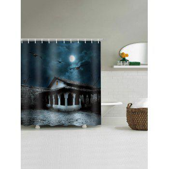 Halloween Moon Night Terror House Printed Shower Curtain - multicolor W71 INCH * L71 INCH