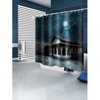 Halloween Moon Night Terror House Printed Shower Curtain - multicolor W71 INCH * L79 INCH