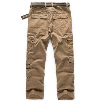 Solid Color Zipper Fly Cargo Pants - LIGHT KHAKI 40