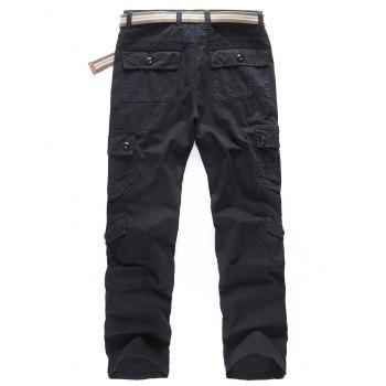 Solid Color Zipper Fly Cargo Pants - BLACK 38