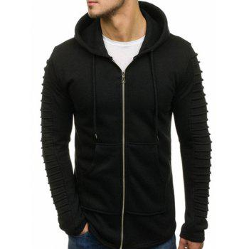 """<P>Solid Sleeve Pleated Design Pocket Zipper Fleece Hoodie</P><I Class=""""Icon Down Js Tap Up Down""""></I> by Dress Lily"""