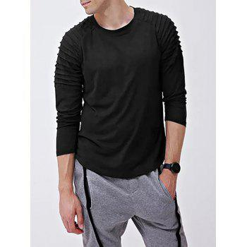 Solid Color Patch Detail Pleated Long Sleeve T-shirt - BLACK XS