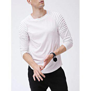 Solid Color Patch Detail Pleated Long Sleeve T-shirt - WHITE S