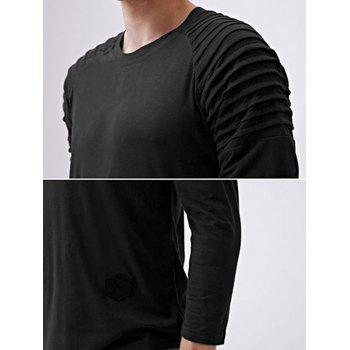 Solid Color Patch Detail Pleated Long Sleeve T-shirt - BLACK M