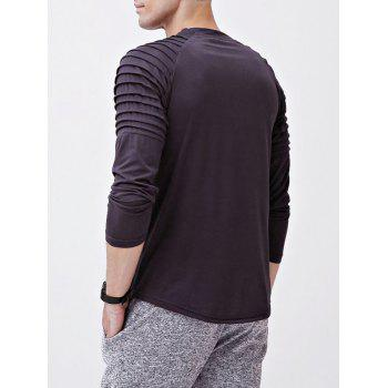 Solid Color Patch Detail Pleated Long Sleeve T-shirt - DARK GRAY XS