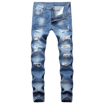 Zipper Fly Ripped Straight Jeans - WINDOWS BLUE 32