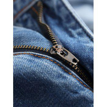 Zipper Fly Ripped Straight Jeans - WINDOWS BLUE 42